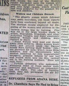 خبر منتشر شده در روزنامه مبتنی بر چگونگی زنده زنده سوزاندن زنان و کودکان ارمنی،روزنامه نیویورک تایمز ۲۷ نوامبر۱۹۱۵